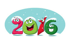 New year banner 2016 with funny figures in the snow Stock Images