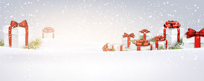 New Year banner with gifts. Stock Image