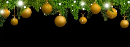New Year banner with gold Christmas balls. Vector illustration stock illustration