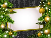 New Year banner with golden Christmas balls Stock Photo