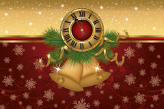 New Year banner with golden xmas bells and clock. Vector vector illustration