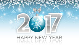 New Year 2017  banner with hanging bauble. New Year 2017 banner. Vector illustration with hanging bauble and snowflakes Royalty Free Stock Images