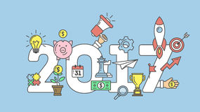 New Year banner. 2017 New Year banner with minimalistic elements. Light bulb, piggy bank, money and more. Business illustration Stock Photos