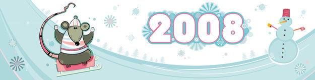 New year, banner with rats. Colorful christmas vector banner for backgrounds. With rat - symbol of 2008 year and snowman Royalty Free Stock Image