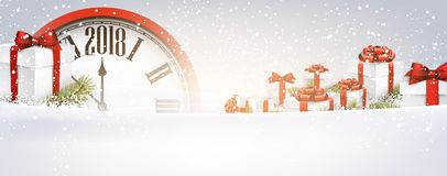 2018 New Year banner with clock. 2018 New Year banner with red clock and gifts. Vector illustration Royalty Free Stock Images