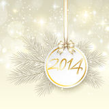 New year 2014 banner with ribbon and bow vector Royalty Free Stock Images