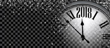2018 New Year banner with clock. 2018 New Year banner with silver clock and stars. Vector illustration royalty free illustration