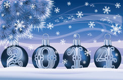 New 2014 Year banner with silver xmas balls. Illustration royalty free illustration