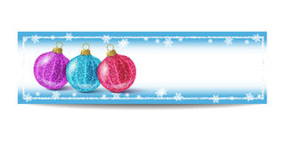 New Year banner template with Christmas ball and silver frame. New Year banner template with Christmas balls. Blue background with bokeh, snow, fog and Royalty Free Stock Image