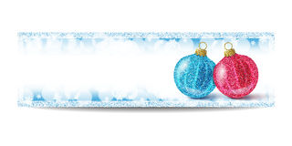 New Year banner template with Christmas ball and silver frame. New Year banner template with Christmas balls. Blue background with bokeh, snow, fog and Stock Images