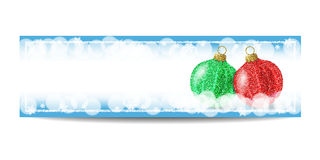 New Year banner template with Christmas ball and silver frame. New Year banner template with Christmas balls. Blue background with bokeh, snow, fog and Royalty Free Stock Images