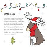 New Year banner template - Christmas deer in santa hat. Cute and fun vector illustration vector illustration