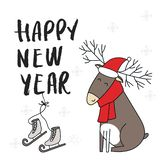 New Year banner template - Christmas deer in santa hat with hand drawn lettering. Cute and fun vector illustration royalty free illustration
