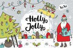 New Year banner template - cute and fun Santa, hand drawn lettering, Christmas tree and decorations. Cute New Year card with Santa, hand drawn lettering vector illustration