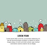 New Year banner template - Hand drawn illustration with different houses and snowy night sky. Vector illustration royalty free illustration