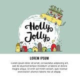 New Year banner template with Santa, hand drawn lettering, Christmas tree and decorations. Vector illustration royalty free illustration