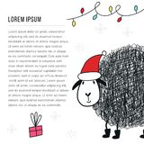 New Year banner template - Sheep in santa hat in doodle style. Cute and fun vector illustration stock illustration