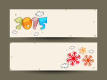 New Year 2015 banner or website header set. Happy New Year 2015 celebration website header or banner set with colorful text and snowflake Stock Photos