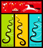 New year banners. Colored banners with new year decoration vector illustration