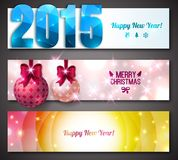 New Year 2015 Banners. Colorful bokeh abstract backgrounds with lights. Place for your text message. Vector illustration. Festive cards. Xmas banner Stock Image