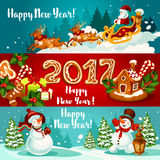 New Year banners with holiday characters Royalty Free Stock Images