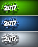 2017 New Year banners set. 2017 New Year banners set with Christmas balls. Vector illustration Royalty Free Stock Image