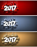 2017 New Year banners set. 2017 New Year banners set with Christmas balls. Vector illustration Royalty Free Stock Photography