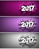 2017 New Year banners set. 2017 New Year banners set with Christmas balls. Vector illustration stock illustration