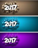 2017 New Year banners set. 2017 New Year banners set with Christmas balls. Vector illustration Royalty Free Stock Images