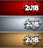 2018 New Year banners set. Colorful 2018 New Year banners with Christmas balls. Vector illustration Stock Image