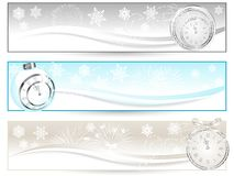 New year banners. Three luxury banners with New year clock Royalty Free Stock Photos