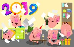 2019 New Year bash. Pigs celebrating party vector illustration. Cool vector flat character design on New Year or Birthday party wi. New Year bash. People Stock Images