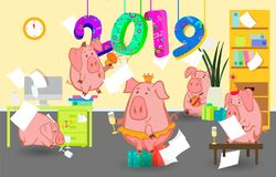 2019 New Year bash. Pigs celebrating party vector illustration. Cool vector flat character design on New Year or Birthday party wi. New Year bash. People Stock Photography