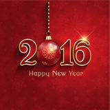 New Year bauble background. Happy New Year background with a hanging bauble stock illustration