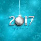 New Year bauble background. Happy New Year background with hanging bauble Stock Photo