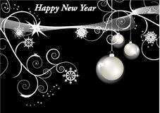 New year baubles. On black background Stock Photography