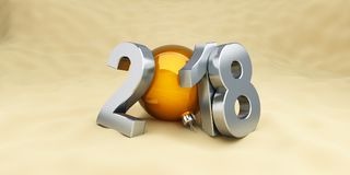 New Year 2018 on the beach ball on a white background 3D illustration, 3D rendering. New Year 2018 on the beach ball on a white background 3D illustration, 3D Royalty Free Stock Photo
