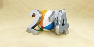 New year 2014 on the beach, beach ball. 3d Illustrations Vector Illustration