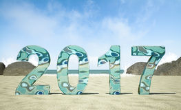 2017 New Year on the beach. 3D rendering image Stock Images