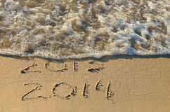 New Year beach for 2014 Royalty Free Stock Image