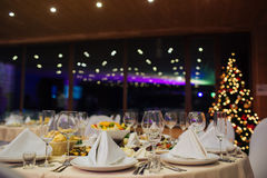 New Year beautiful catering. With beautiful background of lights Royalty Free Stock Image