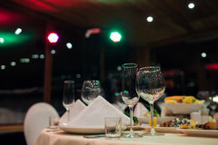 New Year beautiful catering. With beautiful background of lights Royalty Free Stock Images