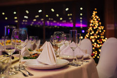 New Year beautiful catering. With beautiful background of lights Stock Photography