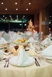New Year beautiful catering. With beautiful background of lights Royalty Free Stock Photography
