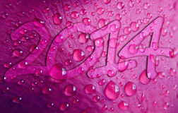 Happy new year 2014 dew drops background Royalty Free Stock Photography