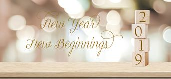 New year New beginnings, 2019 positive quotation on blur abstract background, new year greeting card banner. New year New beginnings, 2019 positive quotation on royalty free stock image