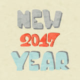 New Year 2017 on beige background. Inscription New Year 2017 on beige grunge background, holiday lettering, illustration Stock Image