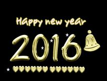 2016, new year with bell Stock Images