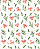 New year bells and butcher broom seamless patter. Christmas background with bell, red ribbon and ruscus aculeatus twig, fir or holly branch, paper, wrapping Royalty Free Stock Photography
