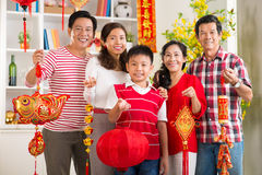 New Year in big family Royalty Free Stock Photos